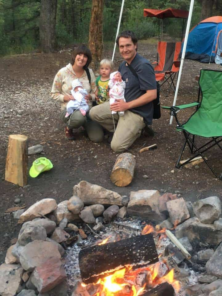 Picture of us getting out camping with all three kiddos!