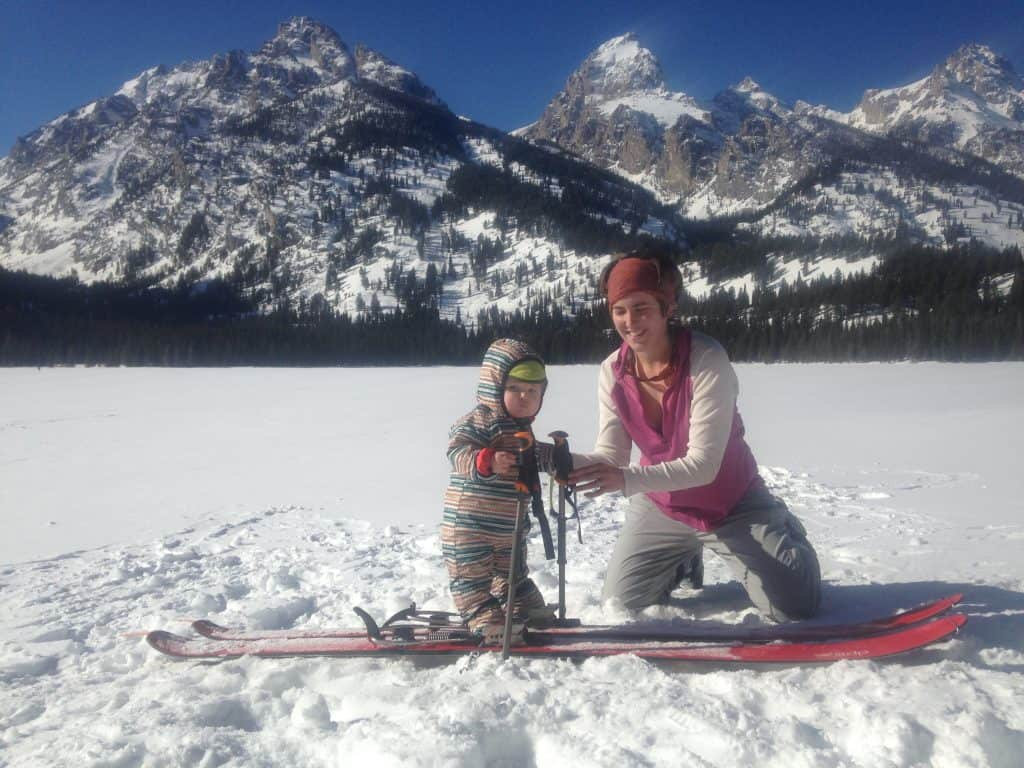 Skiing with my one year old in Grand Teton National Park!