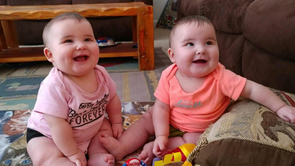 Twin girls at 6 months