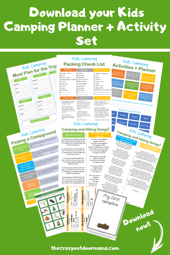 Learn what to bring for camping with baby with these free printable checklists! A packing, meal plan, activity and campground checklist are included plus 3 fun activiteis and 4 camp songs for kids!