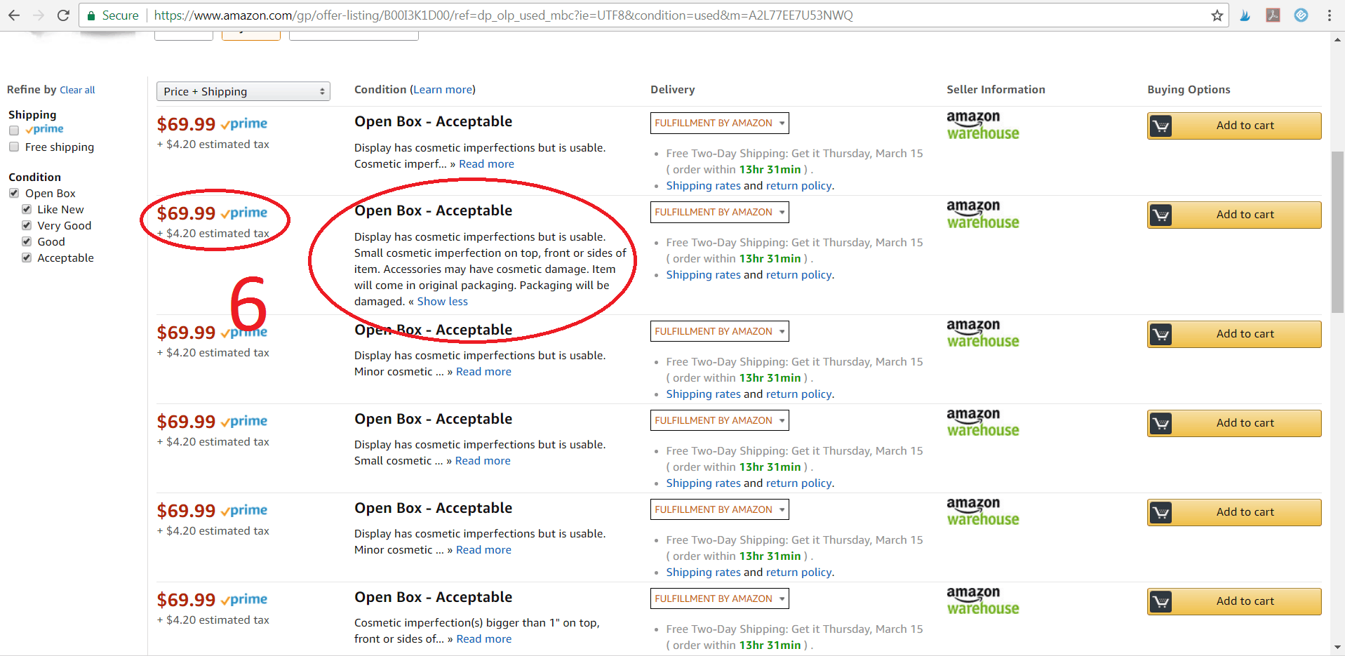 how to find a good price on amazon warehouse deals