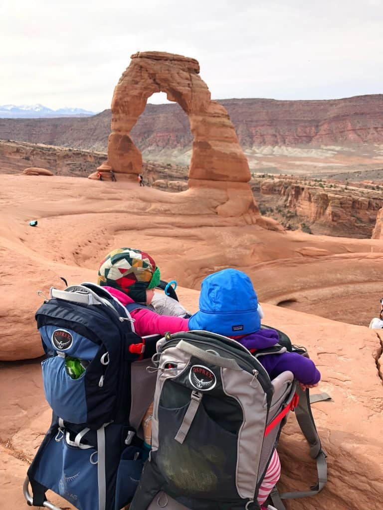 Babies hiking to delicate arch in arches national park