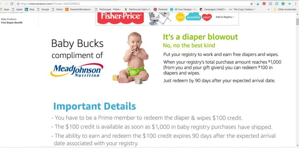 free diapers and discounts by using amazon baby registry