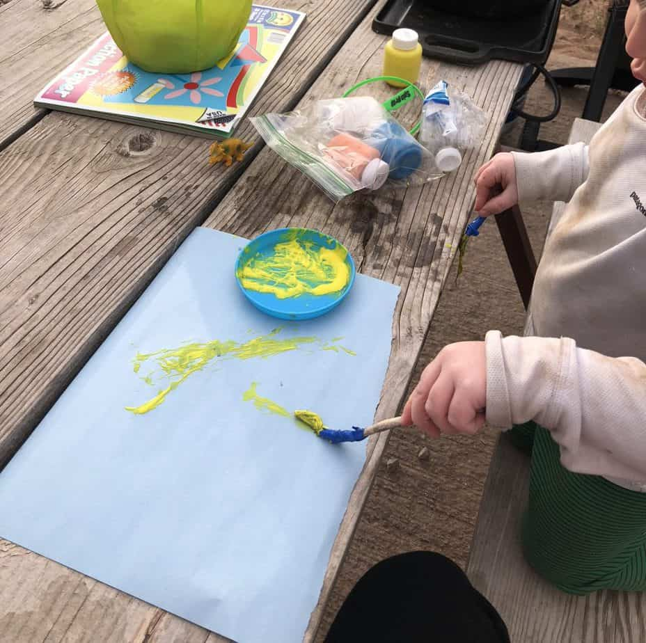 painting with leaves for kids