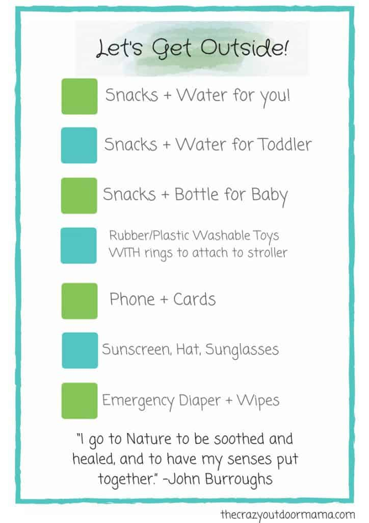 list of things to have for going out with baby on a walk. Stroller check list