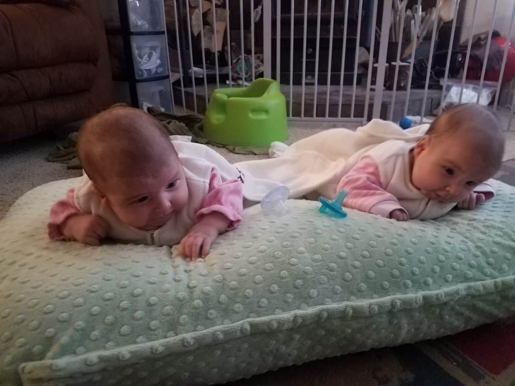 Tummy time for twins with Twin Z Nursing pillow