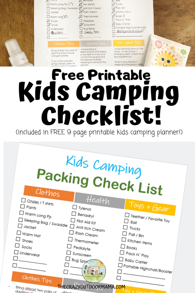 photo regarding Printable Camping Checklist titled Printable Little one Tenting Record and Planner! The Nuts