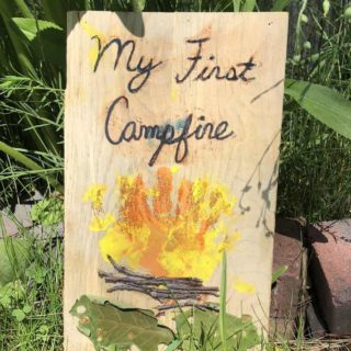 campfire craft made out of handprints