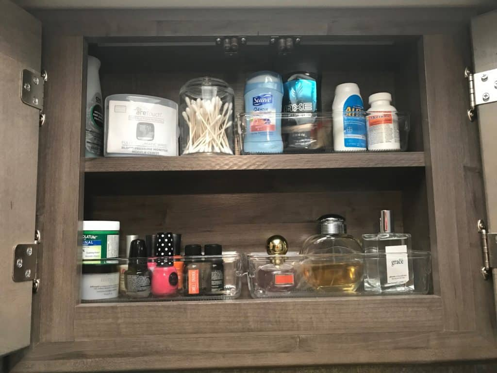 how to declutter rv cabinets using containers