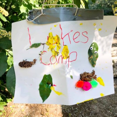 camping craft idea for toddlers, making a camp site sign