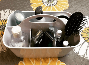 bathroom organization tips for camper with a caddy