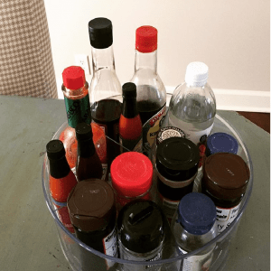 spice organization in campers using lazy susan