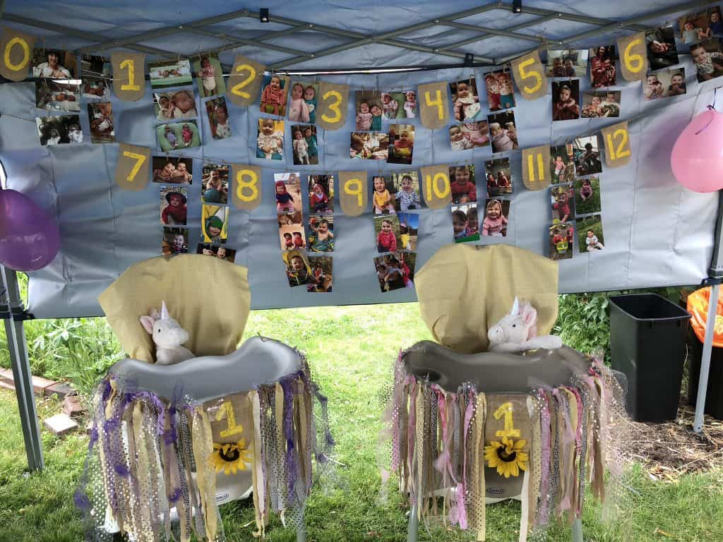 twin highchair banner idea with sunflowers and burlap