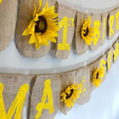 DIY Beautiful Homemade Birthday Banner for Girls with Sunflowers and Buralp!