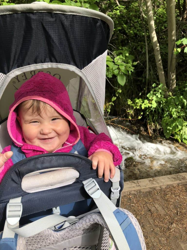 use a baby backpack for a fussy baby around camp