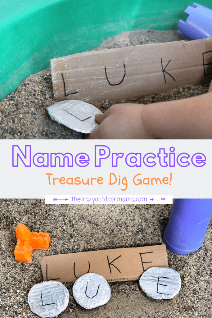 Teach your preschooler how to spell their name with this fun, easy DIY name practice activity! It'll actually keep their attention (who doesn't love to dig for treasures?!), it helps toddlers and preschoolers alike learn how to spell their name, and this fun name practice activity is easy for home or at school!