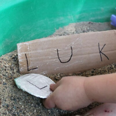 The FUNNEST Preschool Name Activity – Sandbox Name Treasure Dig!