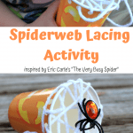 """Fun Preschooler Spider Lacing Craft inspired by """"The Very Busy Spider"""" by Eric Carle"""