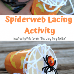 "Fun Preschooler Spider Lacing Craft inspired by ""The Very Busy Spider"" by Eric Carle"