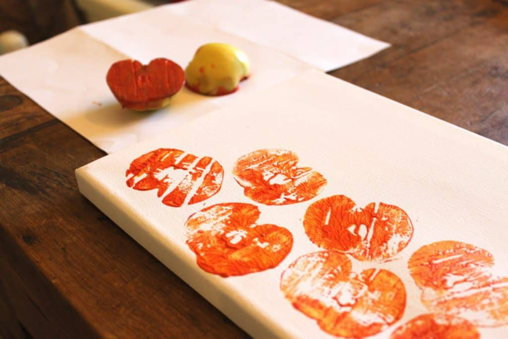 apple stamping craft fall activity with preschoolers