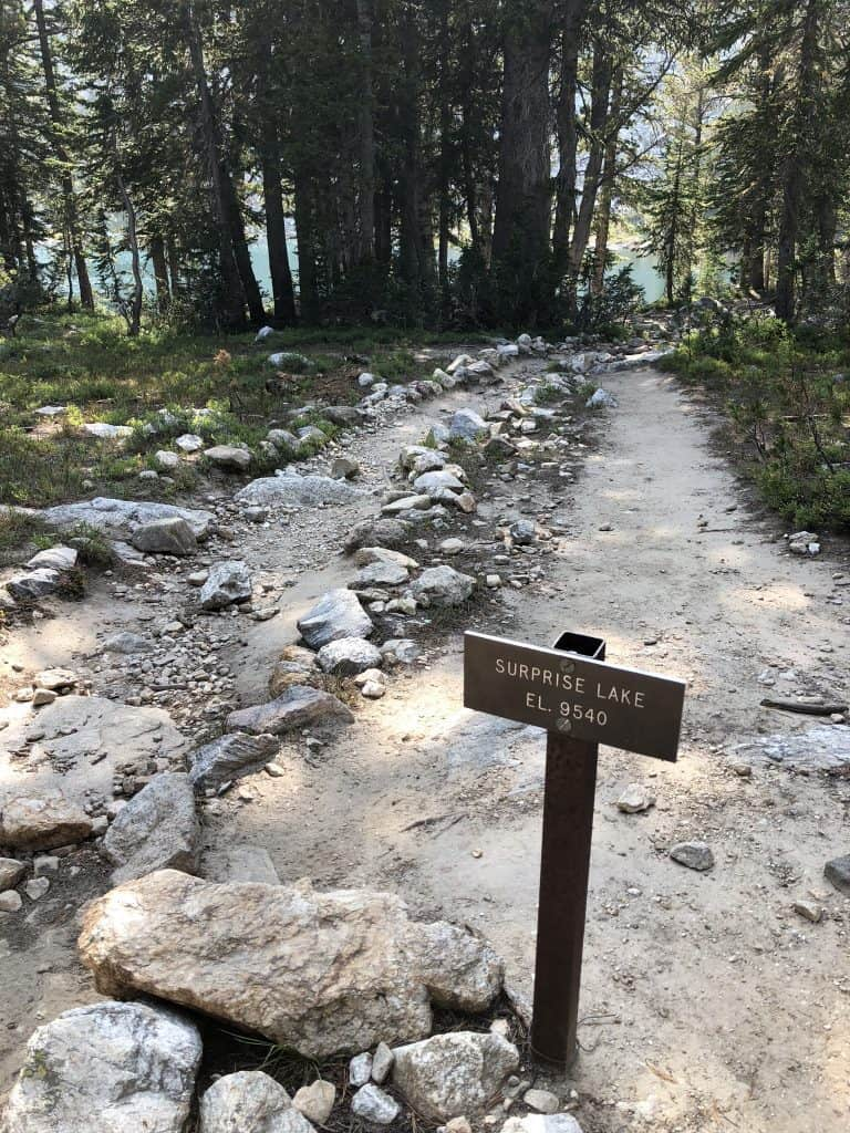 Surprise Lake Trail Marker grand teton national park