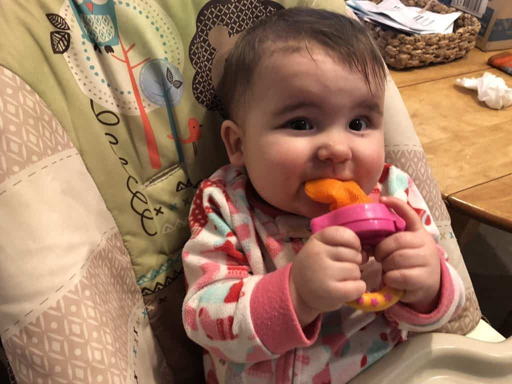 baby hack for teething use frozen fruit or milk