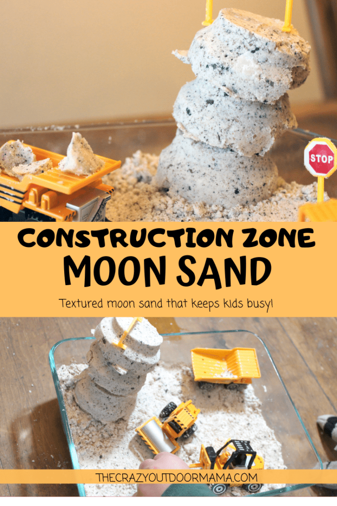 This fun moon sand recipe idea has added sensory benefits by adding in some play sand! Kids will love the added fun the texture adds to this moon sand!