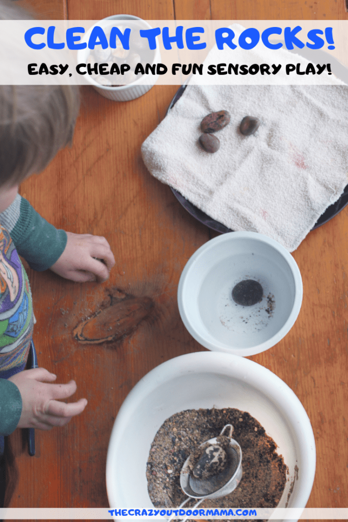 A fun and easy sensory bin using natural items thats fun for kids of all ages, especially preschoolers and older toddlers! This uses rocks, sand, as well as fine motor skills to retrieve and clean the rocks!