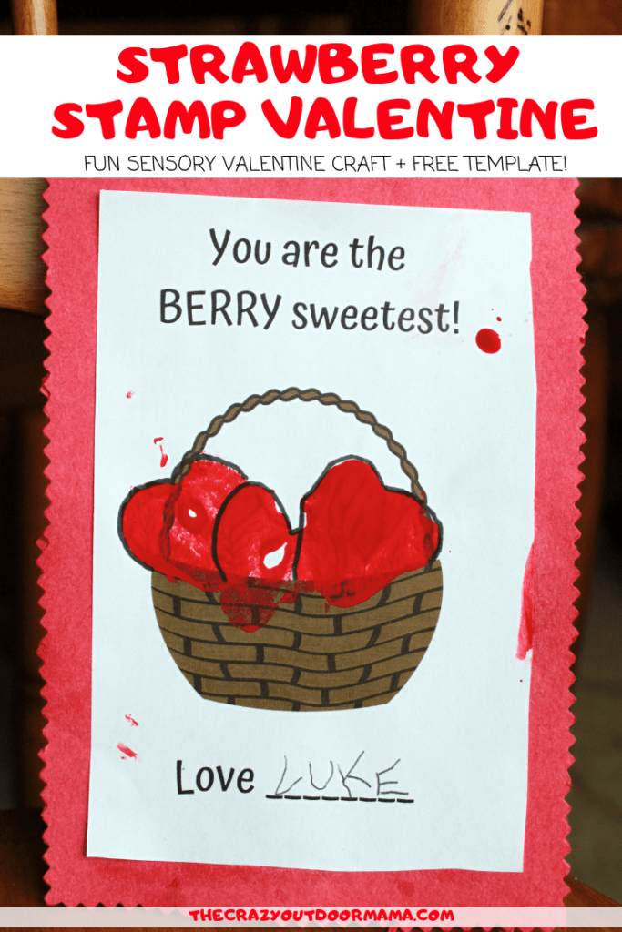 This cute kids DIY homemade valentine craft is made from strawberries, and is quick to make! Kids will love getting some sensory time in making this cute valentine card for grandma, mom, dad or teachers!