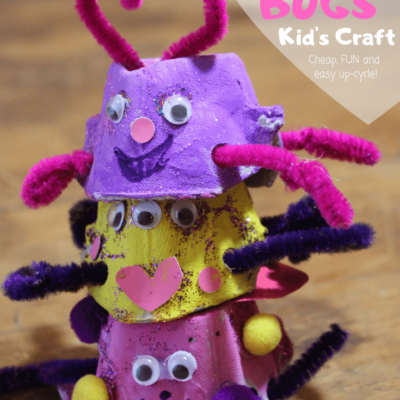 """This quick, cheap and easy kids valentines craft will be a hit with toddlers, preschoolers, and more! Use an egg carton and some cute decor to make your """"love bugs"""" and give this valentine gift to someone you love!"""