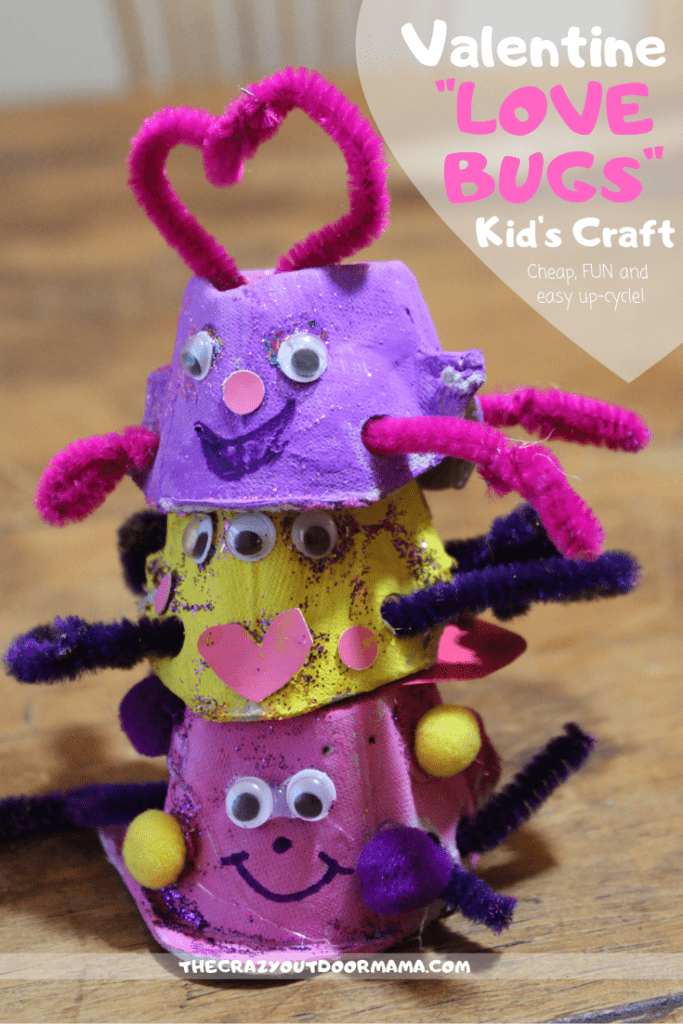 "This quick, cheap and easy kids valentines craft will be a hit with toddlers, preschoolers, and more! Use an egg carton and some cute decor to make your ""love bugs"" and give this valentine gift to someone you love!"