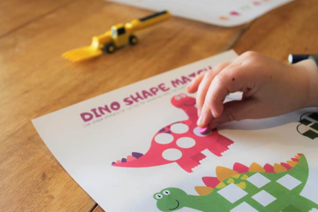 shape practice worksheet for preschoolers dino themed