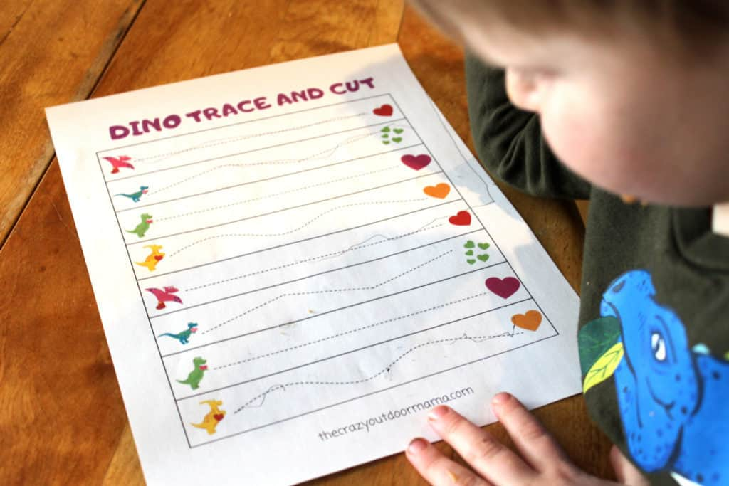 cutting and tracing practice free worksheets dino themed for preschoolers