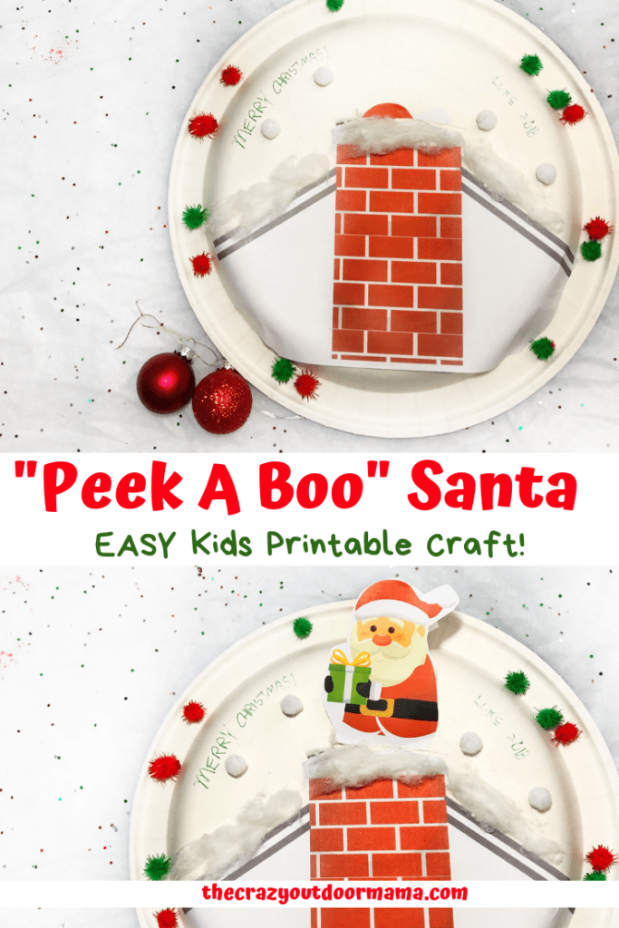 Kids christmas crafts tend to be sort of hard sometimes.. this one is easy! A perfect christmas craft for preschoolers even! Kids will love this peek a boo santa craft!