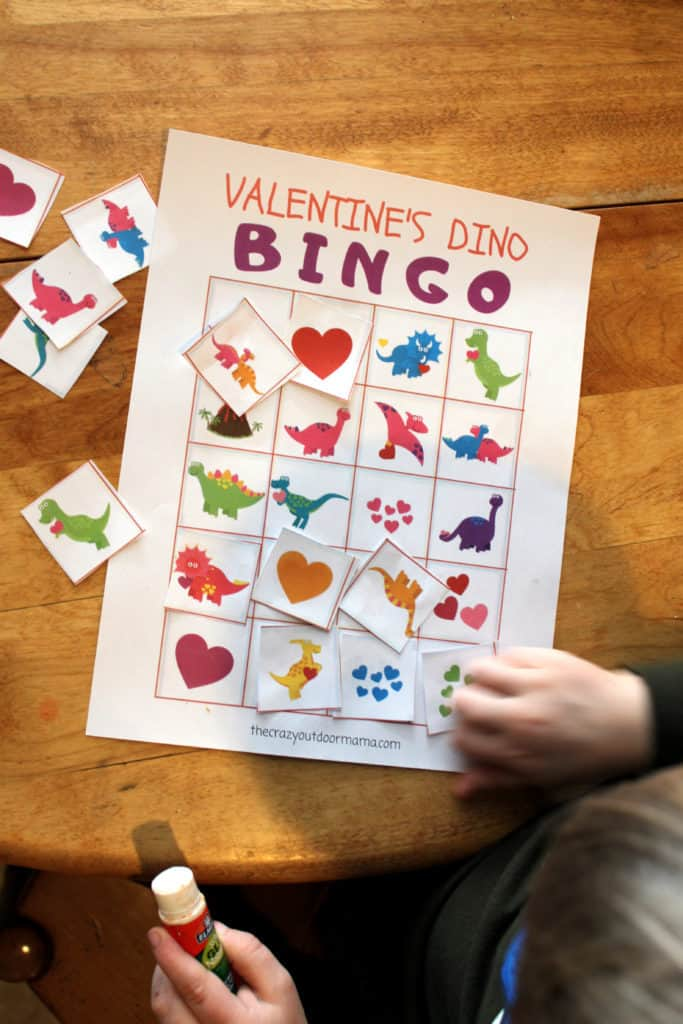 dinosaur themed valentine bingo card for kids