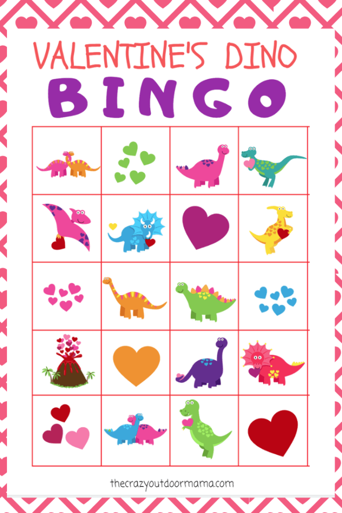 graphic about Printable Valentine Bingo Cards named Valentine Children Dinosaur BINGO + Game Fixed - Excellent for