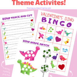 Valentine Kid's Dinosaur BINGO + Activity Set – Perfect for Preschoolers! [Printable]