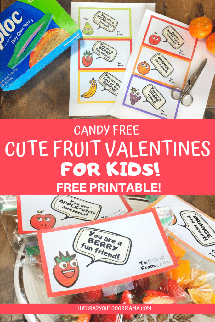 This is a fun and healthy candy free valentine for the kids! These fun fruit bag toppers will be perfect to exchange with friends in the classroom! Use them as gift tags an fill with your favorite fruit!