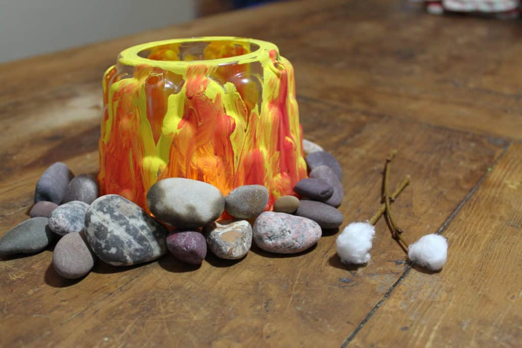 glowing campfire craft for kids