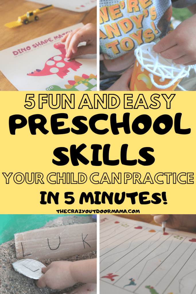 These 5 preschool activities are perfect for 3 year olds just entering school! Practice important skills like name practice, cutting, tracing, lacing and matching with hands on fun that will help develop fine motor and sensory skills too!