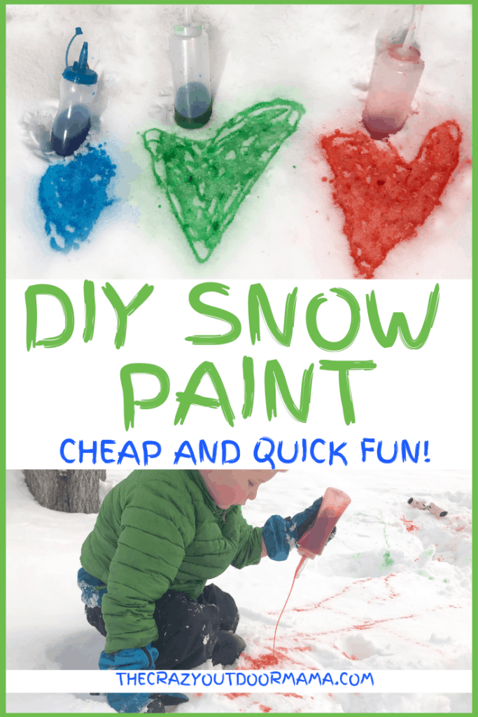 DIY snow paint for kids outside during winter