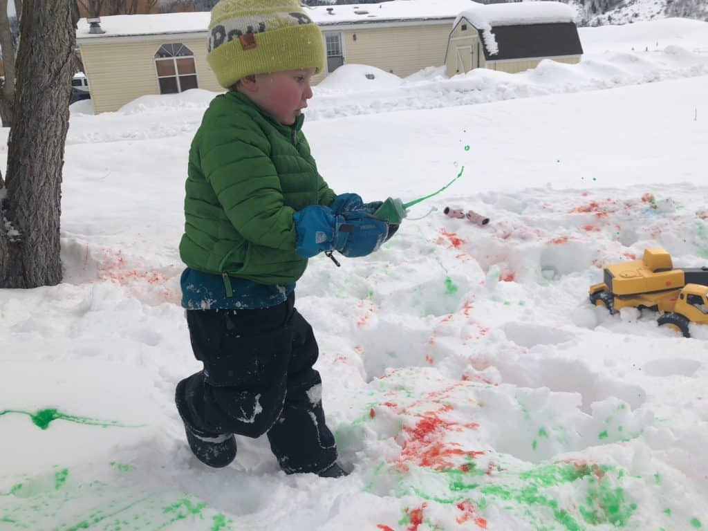 fun snow day idea, use snow paint you make at home