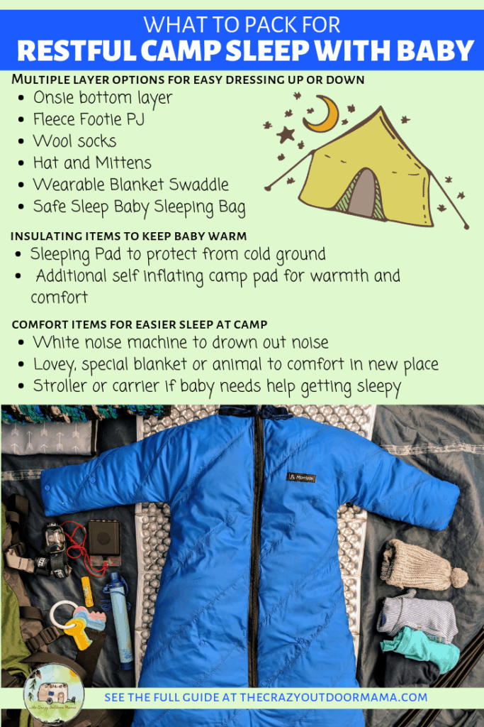 pack list for good sleep with baby while camping