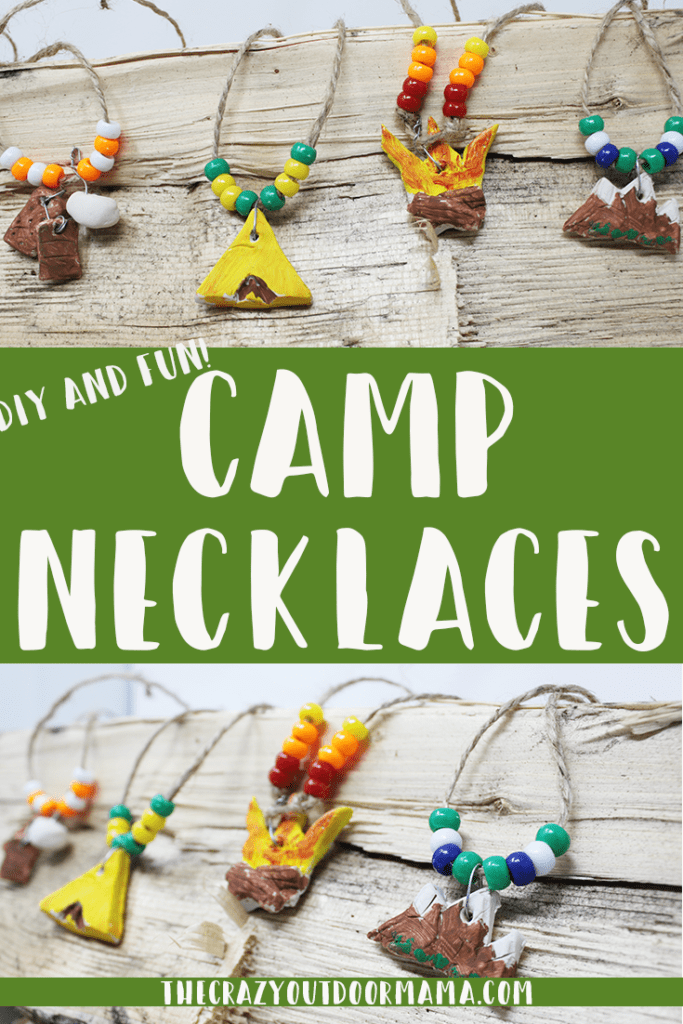 kids camping craft camping necklaces diy fire mountains tent smores