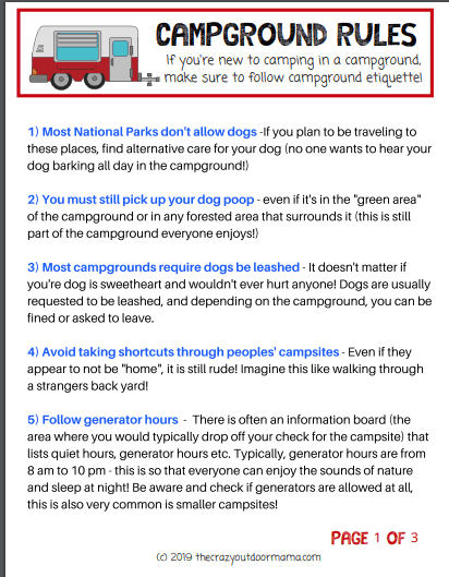 campground rules and eqiquete