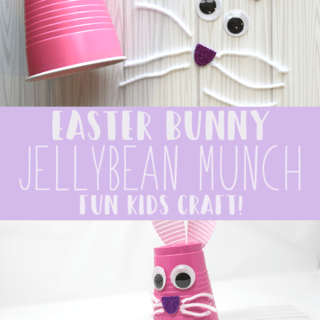 fun diy kids easter game made with plastic cup. jellybean easter game