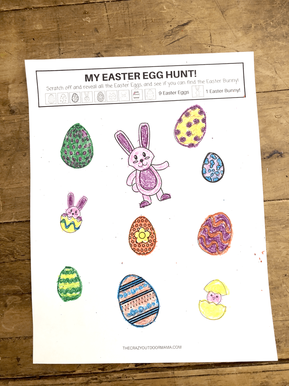 easter egg hunt game for kids free printable scratch and reveal