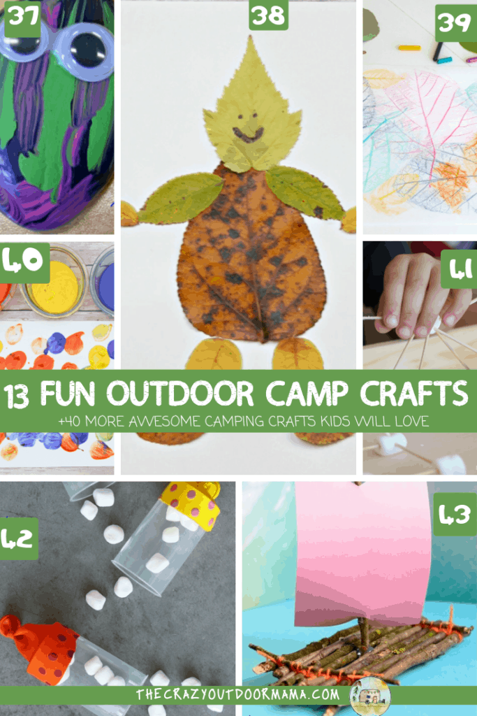 easy camp crafts to do with kids preschoolers and toddlers outside in nature