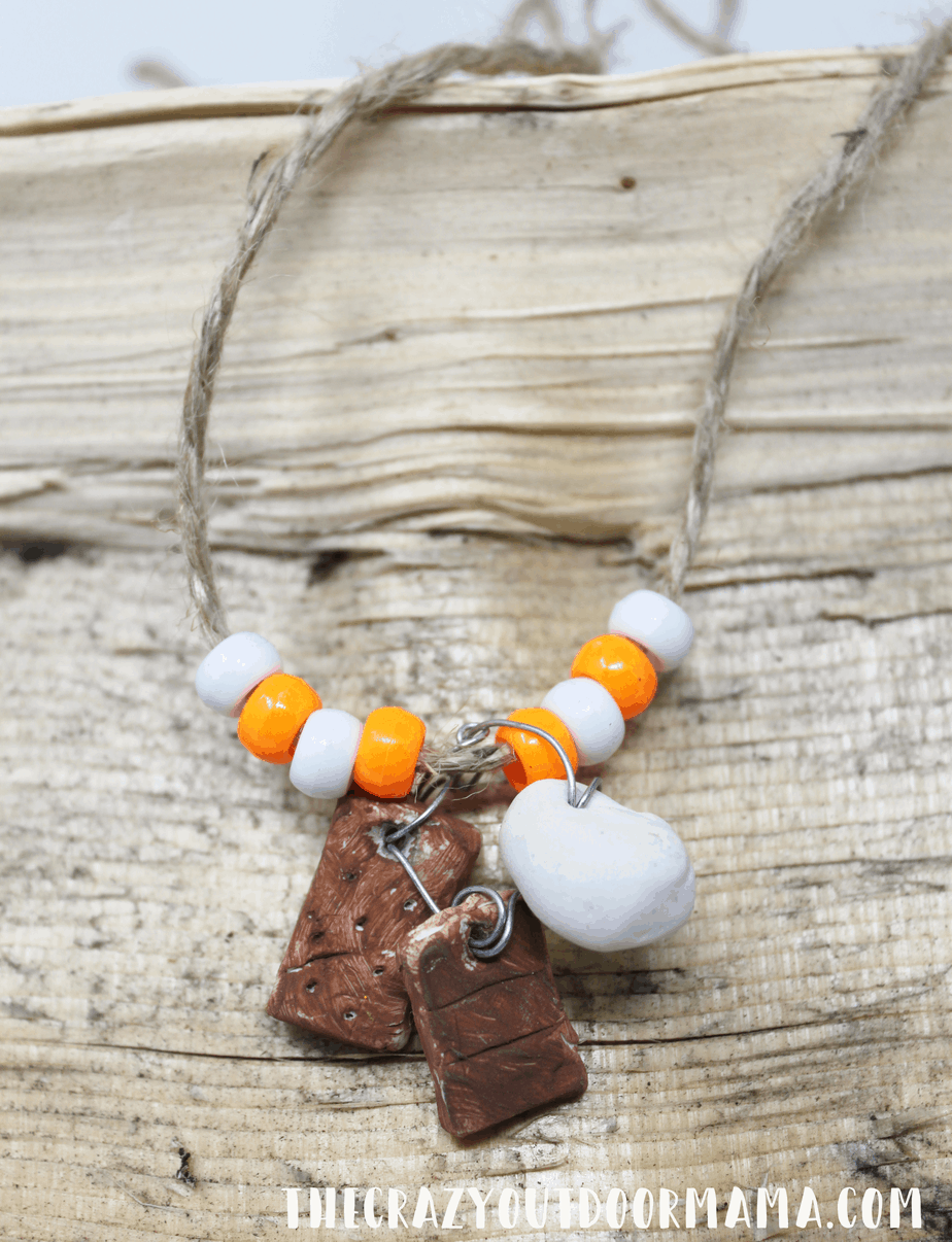 s'more camping necklace for summer camp diy craft