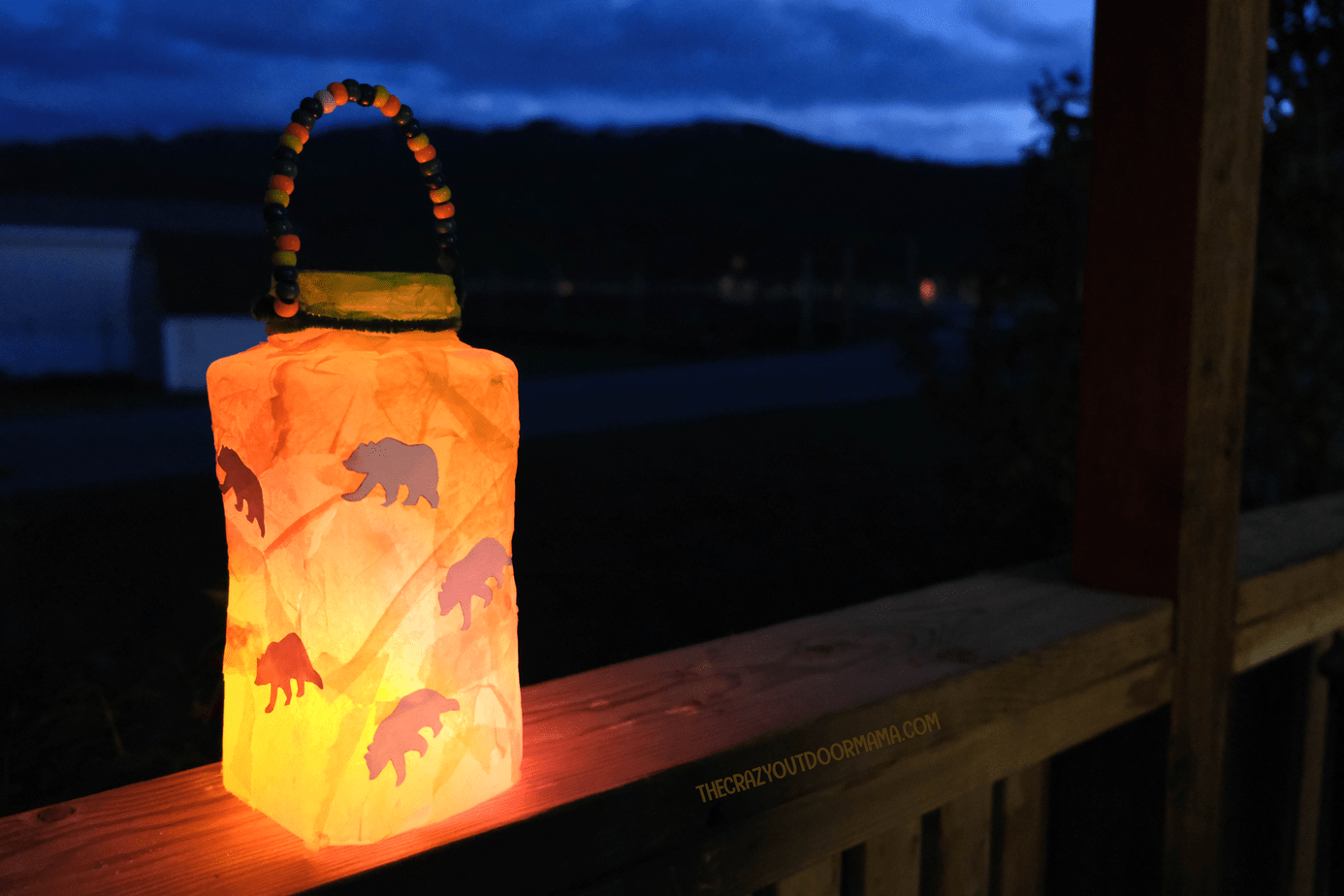 kids camping lantern craft with modge podge and tissue paper